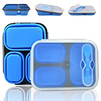 Portable Collapsible Food Storage Containers,Silicone Foldable Lunch Preservation Box Usable in Microwave 1100ml (Blue)