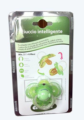 elemed-bp-721-2-ciuccio-intelligente-in-lattice-sagoma-ciliegia-misura-2-giallo-verde-6-mesi-