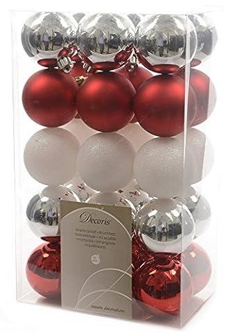 Weihnachtskugeln Mix rot weiß silberfarben 30 Stück Christbaumkugeln Kunststoffkugeln Zierschmuck Weihnachtsdeko