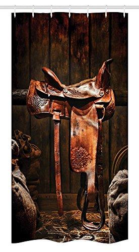 GAOFENFFR Western Duschvorhang American West Traditioneller authentischer Stil Rodeo Cowboy Sattel Holz Ranch Scheune Bild Stoff Badezimmer Dekor Set mit Dunkelbraun (Bilder Ranch)