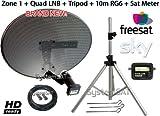 Kit antenne Parabole Zone 1satellite portable avec trépied Quad LNB & SAT Finder –