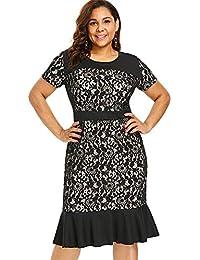 6f8b2a7c59cb NANADEDIAN Abito Vestito Comfort Versatile Classico Moda Plus Size Lace  Panel Mermaid Dress Abiti da Donna