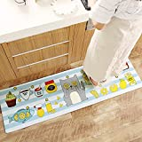 AZUO Haushalts Leder Wasserdichte Bodenmatte Fußpolster Kreative Haushalts-Cartoonstrip-Küche Nicht-Slip Oil Proof Matte,A,M