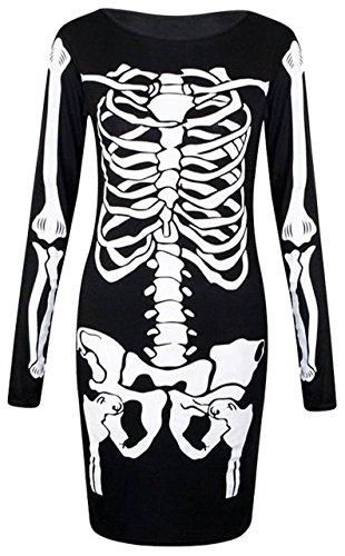 Damen Skelett Knochen Midi Kleid Damen Halloween Gruslige Nacht Langärmliges Bodycon-kleid – Schwarz, 8-14