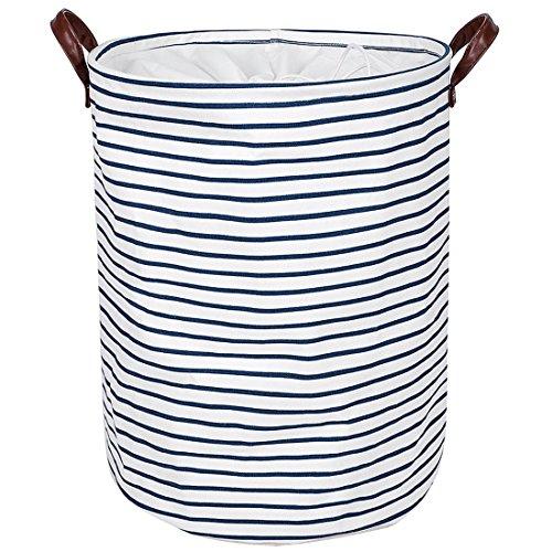 DOKEHOM DKA0822BLL 19' verdickte großen wäschekorb (19' und ein 22') mit leath umgehen, faltbare tunnelzug wasserdicht runde cotton linen zusammenklappbaren lagerung hemmen (Blau Gurte, L)