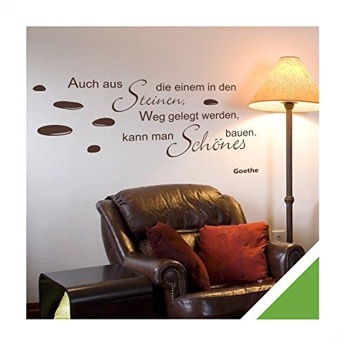 Exklusivpro Wandtattoo Zitat Spruch Auch aus Steinen die einem in den Weg gelegt werden, kann man schönes bauen. (Goethe) inkl. Rakel (zit45 lindgrün) 120 x 47 cm mit Farb- u. Größenauswahl