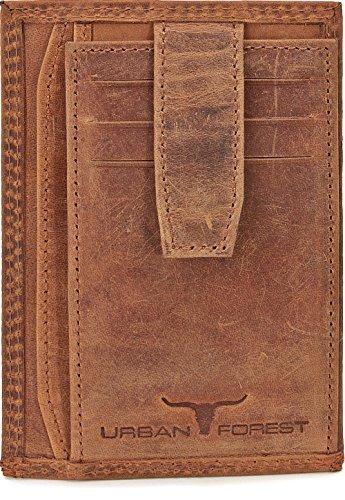 Schmales Kreditkartenetui Kartenetui Scheckkartenetui Kartenmäppchen Portemonnaie Slim Wallet Mini Börse für Herren aus echtem Leder Extra flach und mit Veredelung von URBAN FOREST, Farbe:Cognac