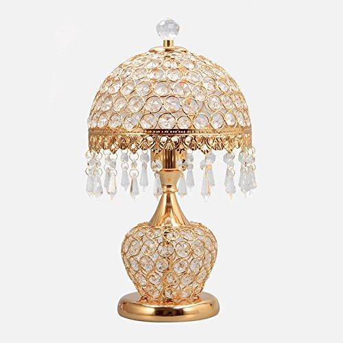 YONG SHOP- Lampe de table en cristal européen Lampe de chevet en chambre à coucher Salon Cuisine en lampe de luxe à deux boutons E27 + perles de lampe ( Couleur : Or )