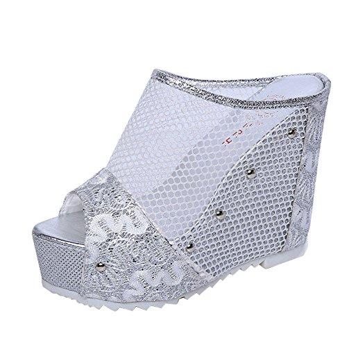 Longra Femmes Poisson Bouche Hollow Sandales Épaisses Bottom Slope Silver