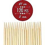 Bastoncini di bambù per arrosti extra lunghi. 61cm x 5mm, per kebab e marshmallow, spiedini spessi, lunghezza extra, resistenti spiedini di legno, 120pezzi Perfetti per hot-dog, spiedini, salsicce, ecologici e biodegradabili al 100%