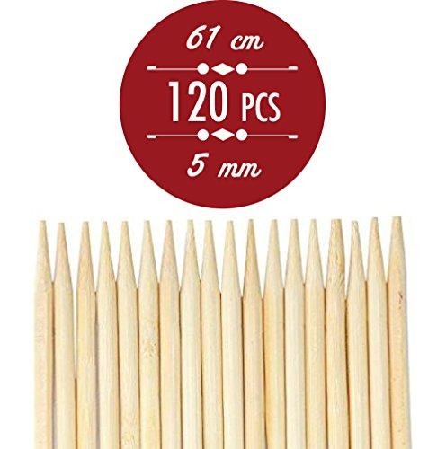 Netvic Lot de 100 bâtons en bambou épais, extra longs et ultra résistants pour brochettes et guimauve 100 % biodégradables 5 mm. Parfaits pour hot dogs, brochettes, saucisses, respectueux de l'environnement et 100% biodégradables