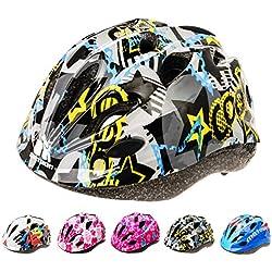 Casque Vélo Enfant VTT et VTC Unisexe Casque de Cyclisme de Réglable de Sport pour BMX Skate Scooter Patines Conçu pour la Sécurité des Utilisateur HB 5-6