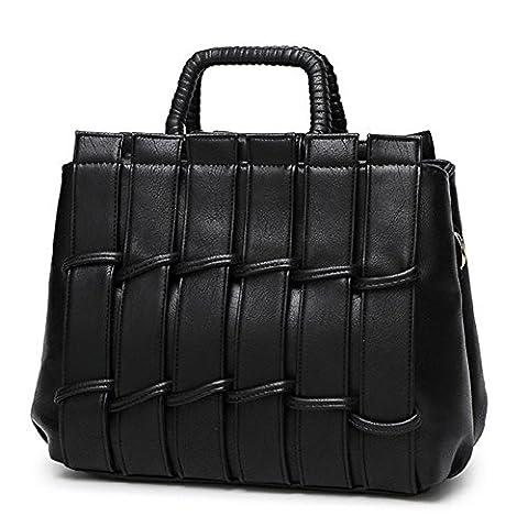 YAAGLE Woven Grid Mature Handbags Stitch Printing Women Shoulder Bag