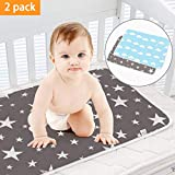 SACONELL 2 Pack 50cmX70cm Portable Baby Diaper Changing Pad, Newborn and Toddlers Waterproof