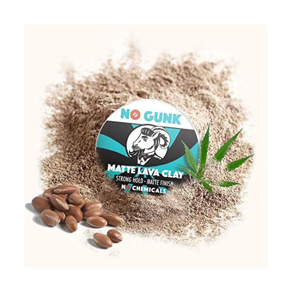NO GUNK Arcilla Pasta Cera de Peinado Mate – 100% Natural Orgánica Para Pelo – Fijación Fuerte – De Ganador del Mejor…