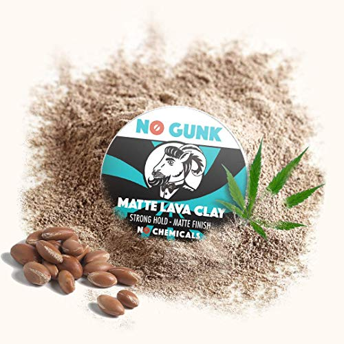 NO GUNK Argile Pâte Cire Coiffante Bio 100% Naturelle Pour Cheveux - Tenue Forte - Effet Mat - Du Gagnant de Meilleur Produit Capillaire Pour Homme 2018 - Matte Lava Clay (Original, 50g) image 2