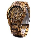 Bewell W086B Hypoallergenic Zebra Wooden Quartz Watches Calendar Nightlight Men's Watch