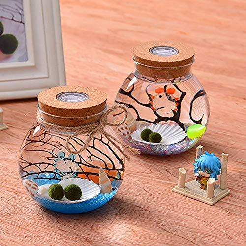 reative Aquarium, Office Desktop Kleine Glas Goldfisch SchüSsel Micro Landschaft Mini Landschaftsbau Betta öKologische Flasche Kreative Geschenk, Mit LED Licht,L ()