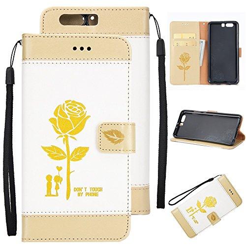 Gemischte Farben Rose Blume matt Premium PU Leder Brieftasche Stand Case Cover mit Lanyard & Card Slots für Huawei P10 Plus ( Color : Gold ) White