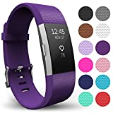 Yousave Accessories FitBit Charge 2 Strap Band - Replacement Silicone Sport Wristband for the FitBit Charge 2 – One to Ten Packs and (Large - Single Pack, Plum)