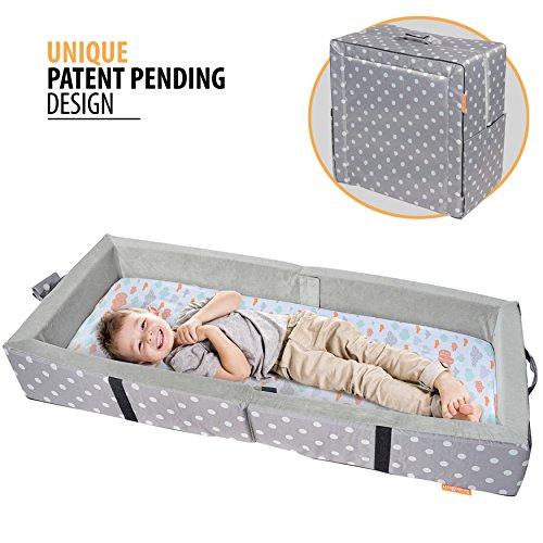 Milliard - Tragbares Kleinkindbett mit weichen Seiten - zusammenklappbar zum Reisen - Matratze misst 122 x 50 cm -