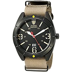 DETOMASO Sangro Men's Quartz Watch with Black Dial Analogue Display and Brown Nylon Bracelet Dt1062-C