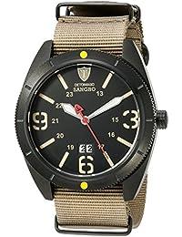 Detomaso Sangro - Reloj de cuarzo para hombres, con correa de tela de color marrón, esfera negra