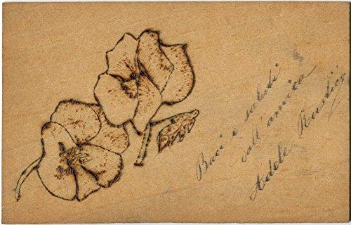 1910 - cartolina augurale in legno con incisi due fiori - fp b/n vg cartolina postale