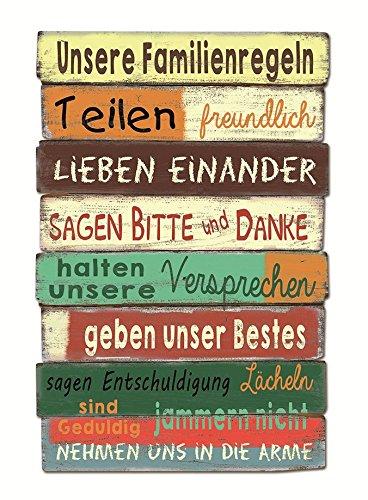 Wandbild unsere Familienregeln Holz 40 x 60 cm, Geschenk, Family, Familie, Regeln, Rules, teilen, freundlich, lieben einander, bitte danke, Versprechen, Bestes, Lächeln