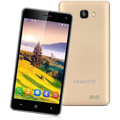 Vkworld T5 - 3G Smartphone Android 5.1 Libre Multi-Idioma (Pantalla 5'' IPS, MT6580 Quad Core 1.3GHz, 2GB RAM, 16GB ROM, Smart Wake GPS WIFI) (Oro)