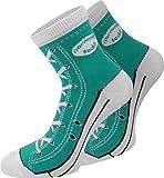 normani 4 Paar Baumwoll Socken im Schuh - Design Farbe Smaragd Größe 43/46