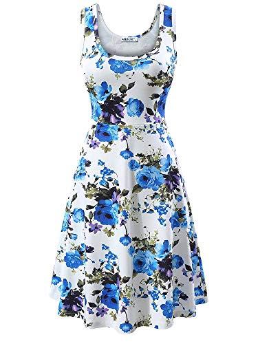 MSBASIC Frau ist eine Linie Sleeveless Blumensommerkleid 8020-2, Blaues Blumen, S (Midi-arbeit Kleider)