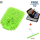 Hugo Microfiber 2 in 1 Sponge and Grip Duster for cleaning Car, Glass, Motorcycle, Bike, Mirror, Tile (Multicolour, HGCCR065)