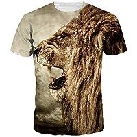 LanLan Camiseta Universal de Moda 3D Tiger, Camiseta de Impresión Digital Camiseta Cuello Redondo Manga Corta Tops