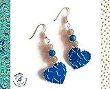 Bijoux Femmes Boucles d'Oreilles Coeurs Bleus - Pierres Naturelles - Capsules...