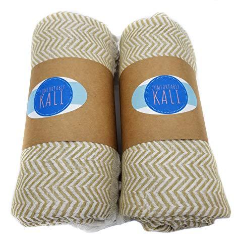 ch, bequem, 99 x 178 cm, Bade-, Strand-, Yoga- und Reisehandtuch, schnelltrocknend, 100% Baumwolle, Chevron-Muster X-Large Latte ()