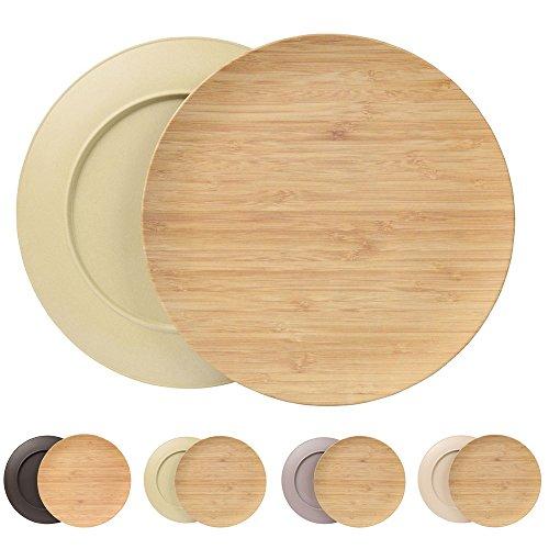 Ensemble durable creuse assiette Kaufdichgrün I Assiette pour enfants et de camping en bois de bambou pour le dîner I 4 pièces d'assiette plate ronde 25,5 cm vert, sans BPA