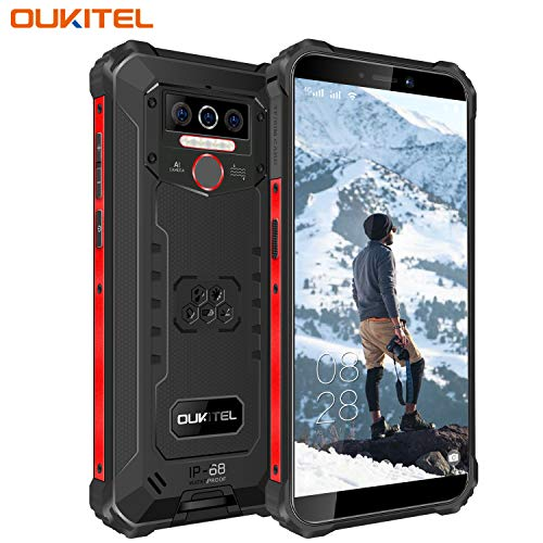 OUKITEL WP5 (2020) Outdoor Smartphone Ohne Vertrag, 4G Dual SIM IP68 wasserdichter,8000mAh Akku Robustes Handy, Android 9.0 Global Version 5,5 Zoll 3GB 32GB Triple Kamera Face/Fingerprint ID (Schwarz)