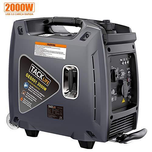 Tacklife generatore di benzina silenziosa, 2000w, inverter portatile a bassa potenza, usb 3.0, design della struttura del trolley, nero, durante da 3.5 a 6 ore -geg001