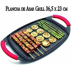 Plaque de cuisson de table avec revêtement en pierre 36cm Convient pour tout type de feu: Induction, vitrocéramique, gaz, plaque électrique, halogène Plaque antiadhésive