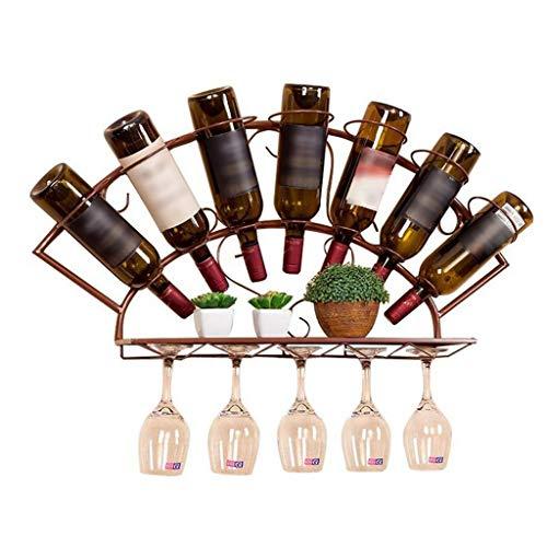 LXYPLM Weinregale Flaschenregal An der Wand befestigter Weinregal-Flaschen-Glas-Halter-Stab-Ausgangsküchen-Speicher-Gestell-Anzeigen-Regal (Farbe : Bronze) (Glas-regal-anzeige)