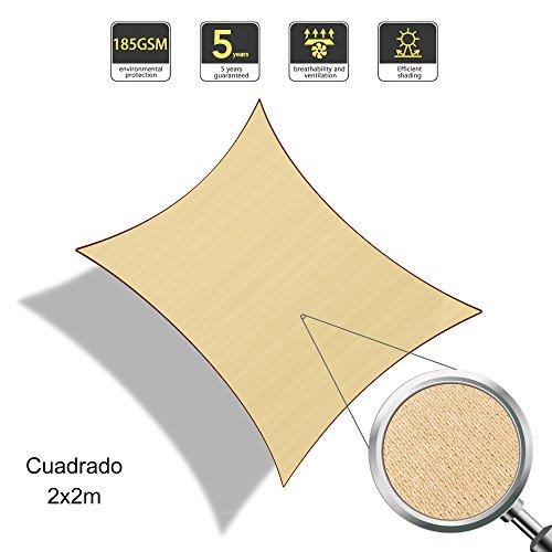 SUNLAX Vela de sombra cuadrado 2 x 2 metros, toldo resistente y transpirable, para exteriores, jardín, Color Arena