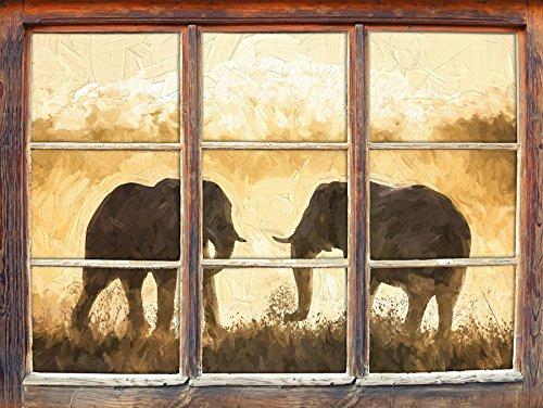 Les éléphants se battent art effet de brosse Fenêtre en 3D look, mur ou format vignette de la porte: 62x42cm, stickers muraux, sticker mural, décoration murale