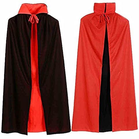 Halloween Costume De Costume Rouge - Cape Déguisement Cosplay Danse Halloween Collier Noir