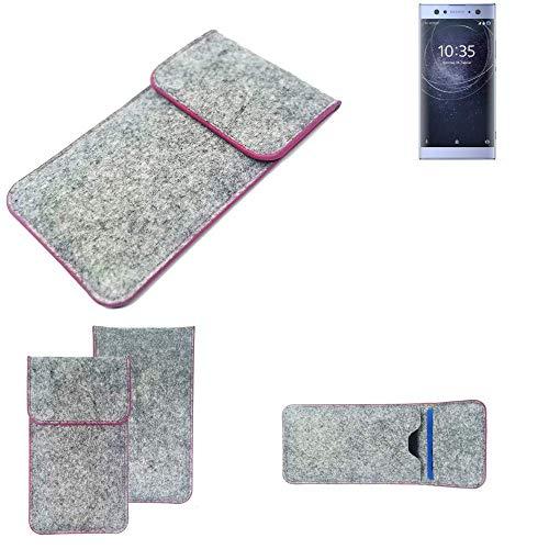 K-S-Trade® Filz Schutz Hülle Für -Sony Xperia XA2 Ultra Dual-SIM- Schutzhülle Filztasche Pouch Tasche Case Sleeve Handyhülle Filzhülle Hellgrau Pinker Rand