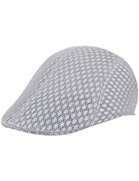 78ff21f9dc4 UJUNAOR Men Breathable Mesh Newsboy Hats Casual Beret Caps