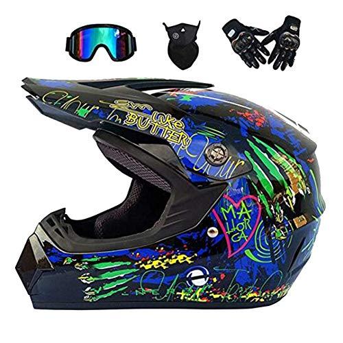 ZXDHELMET Motocross Helm,Motorrad Crosshelm MTB Off Road Helm mit Brille Schutzhelm für Damen Herren Sicherheit Schutz Motocross Helmet,Hostclaws,L58~59CM