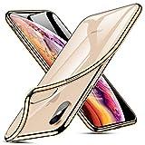iPhone XS Max Hülle, Soft Flex Silikon Transparent Ultra Dünn Handyhülle, Premium Kratzfest TPU Durchsichtige Case für iPhone XS Max 6.5 Zoll, Gold