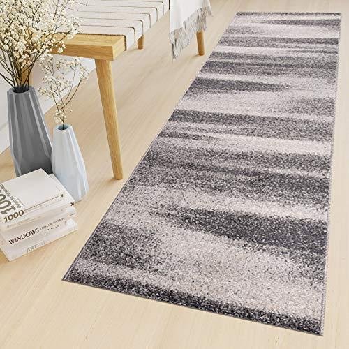 Tapiso Sari Teppich Läufer Meterware Wohnzimmer Schlafzimmer Küche Flur Brücke nach Maß Grau Vintage Kurzflor Verwischt ÖKOTEX 70 x 300 cm