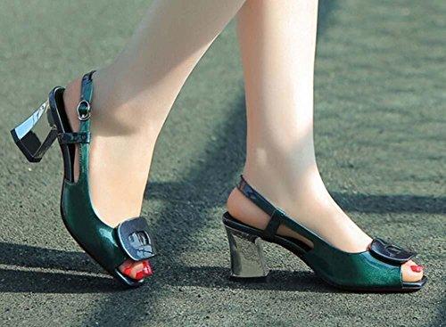 Beauqueen Peep-toe pompe Casual scarpe di cuoio lavoro Donne Sandali grosso tacco basso Semplice Vintage Viola Green Europe formato 34-39 Green